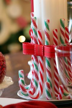 Cute candy candy centerpiece, great December decoration for ballot table or judges'/coaches' lounges.