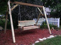 Diy Bench Swing Frame New Bench Coveredoden Bench Swing for Inspiration Of Diy Swing Set Plans A Frame Swing Set, Porch Swing Frame, Swing Set Plans, Diy Swing, Bench Swing, Patio Swing, Swing Sets, Hammock Swing, Bench Plans