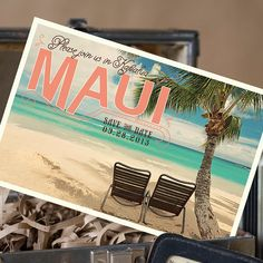Love this idea but like the actual postcard that we saw in the magazine better. Vintage Postcard Save the Date Maui Wedding <3