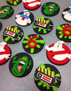 Fondant Ghostbusters Inspired Cupcake Toppers- Edible