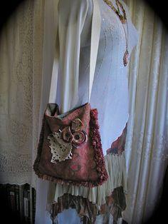 Upcycled Hippie Bag bohemian bag  eco friendly bag  by GrandmaDede