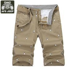 AFS JEEP Brand Shorts Men Cargo Short 100% Cotton Summer Mens Shorts Bermuda Masculina Print Cargo Shorts Pantalon Homme 30-42