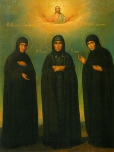 Reverend Elena Moscow with Saint Dominic and Feofania. Icon of XIX century. Workshop of the Novodevichy Convent