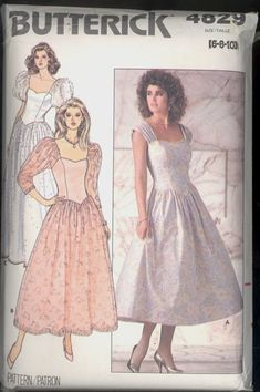 c0af2b7580f Uncut 1980s Dropped Waist Shaped Bodice by VintagePatternsCo1 Dress Sewing  Patterns