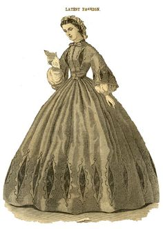 Godey's 1863 Dark green silk dress, trimmed with applications of black velvet, finished with narrow black velvet ribbon.  Standing linen collar, with vesuve neck-tie.  Cap trimmed with different shades of vesuve ribbons.