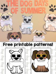 The Dog Days of Summer display that can be used at the end of year, during summer school or summer camp, or during the beginning of a new school year.  Get the free printable dog patterns & instructions at https://lessons4littleones.com/2016/06/23/dog-days-of-summer-display-free-printable-patterns/