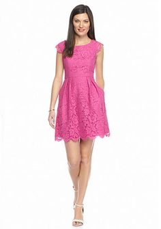 Love this Lace Sheath Dress by Blithe New York™, one of our Southern Designer Showcase Winners! Allover cerise pink lace with scalloped edging fringe and a figure-skimming silhouette brighten this must-have dress.