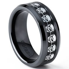 Black Ceramic Men's Skull Cut -out Over Cabron Fiber Ring, Comfort Fit Band, 8mm Size 11