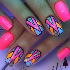 Bright Colored Nails are fun and most of the time very creative. Bright Colored Nails are fun a. Neon Nail Art, Colorful Nail Art, Neon Nails, Cute Nail Art, Love Nails, Pretty Nails, Bright Nail Art, Bright Gel Nails, Aztec Nails