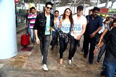 sidharth malhotra,akshay kumar and jacqueline fernandes during brothers promotions at airport