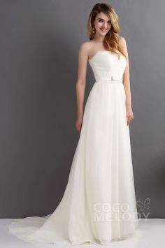 Dramatic Sheath-Column Strapless Sweep-Brush Train Tulle Wedding Dress CWJT1300B