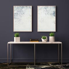 Blue Abstract Art Set of Two Pale Blue Art Prints Two Large