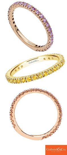 Looking for the perfect stack of rings? Gabriel & Co. Stackable Rings come in all shapes and colors. Each beautiful ring is designed for you to create your own unique stack. Discover these gorgeous rings on our website and get stacking!
