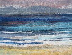 Textile Seascape by Naomi Renouf Felt Pictures, Fabric Pictures, Weaving Textiles, Tapestry Weaving, Art Textile, Textile Artists, Ocean Quilt, Wet Felting Projects, Fabric Postcards