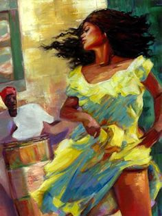 """Artist: Wendell Wiggins  Title: Yellow Girl [24"""" x 36""""]   Series: Oil on Canvas  On display at the Arts Pavilion during the 22nd Central Avenue Jazz Festival. http://centralavejazzfest.com/  Available for sale, contact us with any inquiries about the artist  #WendellWiggins, #ArtsPavilion #LaManchaGallery, #CentralAveJazzFest #OmarHolguinCurator"""