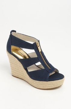 Just bought these! MICHAEL Michael Kors 'Damita' Wedge Sandals from . Desperately needed a navy blue wedge Michael Kors Wedges, Handbags Michael Kors, Mk Handbags, Fashion Handbags, Cute Shoes, Me Too Shoes, Crazy Shoes, Mode Style, Beautiful Shoes
