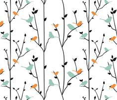 springbirds by jbhorsewriter7 via Spoonflower ; yes, I love the white space, simple design, colors and theme -- birds!