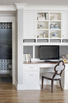 55 Cheap Home Office Cabinet Design Ideas For Easy Organization Storage - You might be surprised at some of the places that a home office can be found. There is a reason for an increase in home office interior design. In tod. White Desk Design, Built In Cabinets, Office Built Ins, Small Space Office, Home Office Design, Desk Design, Small Home Office, Home Decor, Kitchen Office