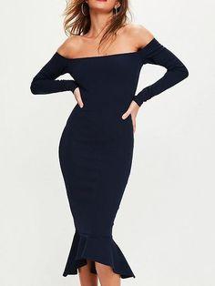 cfef9864d8f Navy Blue Off Shoulder Long Sleeve Pephem Bodycon Dress – risechic.com Navy Bodycon  Dress