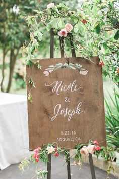 floral wedding sign on dark stained plywood. Featured on The Wedding Chicks Spring 2017 Funny Wedding Signs, Beach Wedding Signs, Vintage Wedding Signs, Unplugged Wedding Sign, Wooden Wedding Signs, Wedding Signage, Wooden Signs, Garden Wedding, Diy Wedding