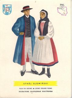 pocztówka STRÓJ SŁOWIŃSKI Mapka Herb lata 60 Ethnic Clothes, Ethnic Outfits, Folk Costume, Costumes, Polish Folk Art, Folk Clothing, Culture, Gowns, Babies