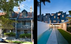 MCK - Sydney Architects / Projects / Paddingtonx2. Outdoor pool, narrow block, whole side wall opens up