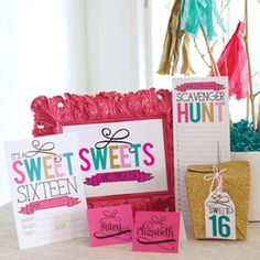 Celebrate a milestone birthday in style with this bright and fun party art.  Sweet 16 Candy Bar Sign Sweet 16 Favor Tags Sweet...