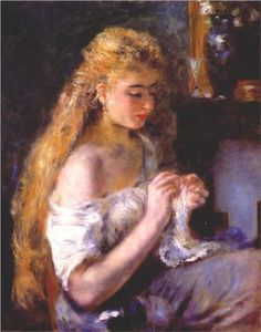 Girl crocheting - Pierre-Auguste Renoir