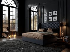 Elegant And Comfortable Black Bedroom Designs and Decorations For Cool Men's - Bedroom Black Rooms, Bedroom Black, Dream Bedroom, Black Beds, Bedroom Small, Black Room Decor, Bedroom Boys, Bedroom Green, Dream Rooms