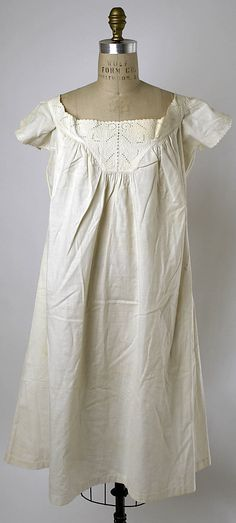 c. 1873 American or European chemise. Interesting gathers at the yoke to give the garment shape. A standard technique, but I like the clarity of this example.
