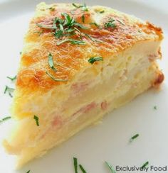 Ham And Potato Bake Bonus Recipe - a typical German dish. Layers of potato, ham and cheese are bound together by a quiche-like egg and cream mixture. This potato bake cuts well and can be served hot or cold, as a side dish or with a salad as a light meal. Quiches, Brunch Recipes, Breakfast Recipes, Breakfast Quiche, Easter Recipes, Breakfast Ideas, Easter Brunch Menu, Sunday Brunch, Baked Cream Cheese Spaghetti