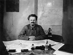 Leon Trotzky, Bolshevist Minister of War, photographed  in his office at Moscow, 1922
