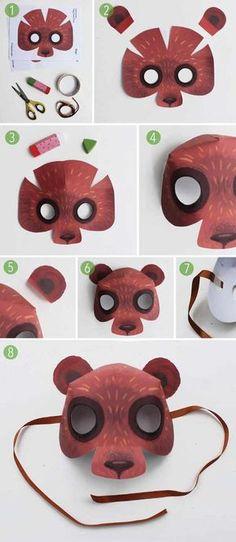 40 idéias de máscara DIY para crianças - livre Júpiter Projects For Kids, Diy For Kids, Crafts For Kids, Animal Masks For Kids, Mask For Kids, Printable Animal Masks, Animal Mask Templates, Cardboard Mask, Cardboard Sculpture