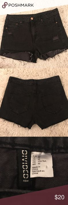 H&M Black Denim Shorts Worn once and washed. Size 10 but could fit an 8. H&M Shorts