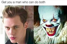 """18 Scarily Funny """"It"""" Memes That Will Make You Sh-It Yourself With Laughter Me: It's not funny to explain the joke. Also me: The guy on the left is Bill Skarsgard, who plays the new Pennywise seen on the right! Scary Movies, Horror Movies, Scary Movie Memes, Horror Movie Quotes, Comedy Movies, It Movie Cast, It Cast, Bill Skarsgard Pennywise, It The Clown Movie"""