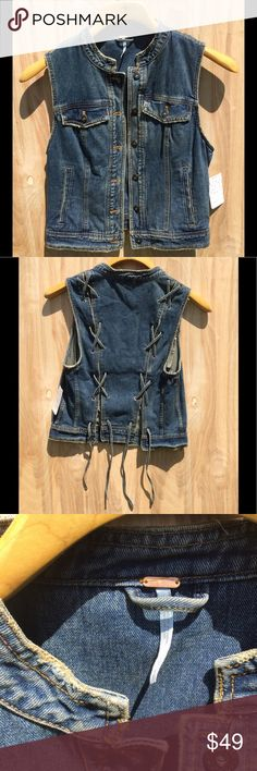 Free People NWT Denim Vest w/denim Lace detail Denim Vest by Free People with denim lacing up the back NWT Size: S Color: Denim ... orders placed before 1pm est = free shipping / ALL offers CONSIDERED Free People Jackets & Coats Vests