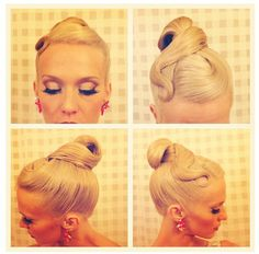 High looped bun with a simple swirl and slightly poofed bang swoop. Good hairstyle for standard and can also be worn for latin. Visit http://ballroomguide.com/comp/hair_make_up.html for more hair and makeup info