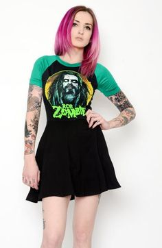 Custom made Rob Zombie Baby Doll Dress! Altered from a large men's t-shirt. Hits above the knee. Diy Emo Clothes, Custom Clothes, Zombie Girl, Rob Zombie, Rock Outfits, Cute Outfits, Wednesday Addams Dress, Dark Fashion, Babydoll Dress