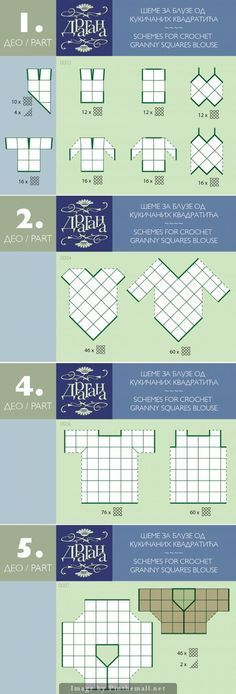 A diagram guide for putting together pretty much anything with granny squares/square motifs: tops, sweaters, purses, etc ~~ Also diagrams with triangles and hexies