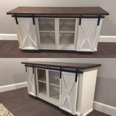 Sliding Door Cabinets are the perfect addition to your farmhouse style. With a standard cabinetry toe kick and inset sliding hardware, you can use this cabinet comfortably anywhere in your home. We can make these any size and any color, with different style doors as well. This
