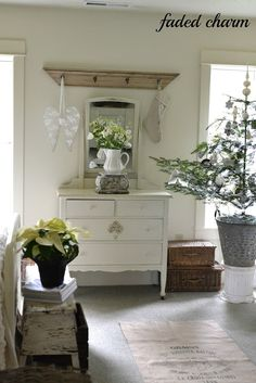 mantel OVER a dresser/mirror!  viaFaded Charm
