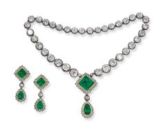 A Superb Mid 19th Emerald And Diamond Necklace And Earrings   Designed as a fringe of five graduated pendants each with a drop shaped emerald estimated to weigh approximately 67.10 carats total, suspended from a square-cut emerald both with diamond borders to the single-row old mine-cut diamond rivière necklace, with pendant earrings en suite, mounted in silver and gold, (five pendants are detachable), circa 1860, necklace 42.0 cm. long [OK, so where are the five pendants?]