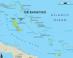 Map of Bahamas: Castaway Cay in The Abaco Islands, Coco Cay in the Berry Islands, and Princess Cays on southern end of the island of Eleuthera.
