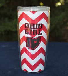 Ohio Girl Chevron Tumbler, Change the red to green and the heart to athens it'd be perfect
