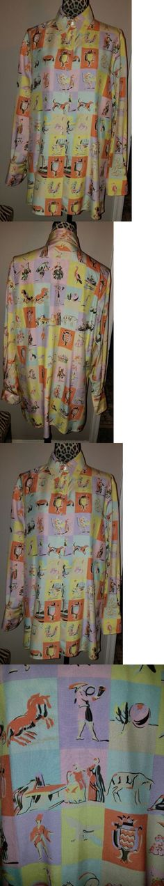 Tops and Blouses 175795: Hermes Vintage Multi-Color Silk Long Sleeve Button Down Blouse (Sz:10-Us 44-Eu) -> BUY IT NOW ONLY: $750 on eBay!