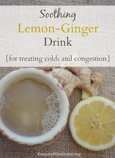 When it comes to colds and congestion, ginger and lemon pack a powerful punch – so make up a batch of this soothing lemon ginger drink to get better! Ginger warms the body and is known to help with decongestion. It is also thought to boost circulation and Alternative Heilmethoden, Alternative Health, Flu Remedies, Herbal Remedies, Natural Medicine, Herbal Medicine, Natural Health Remedies, Natural Remedies, Health And Wellness