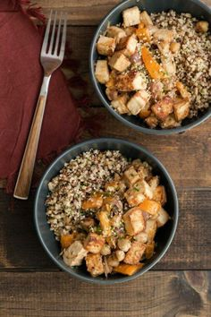 #Recipe: Tofu Chickpea Stir-Fry with Tahini Sauce