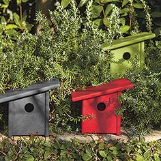Pitch birdhouse made from recycled plastic.