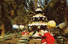 Santa's Village Christmas Tree ride- sit in an oversized ornament and go around the tree and up and down. Santa's Village, Lake Arrowhead, My Kind Of Town, Roadside Attractions, Christmas Villages, Ol Days, Northern California, California Usa, Childhood Memories