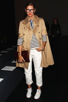 White pants, striped shirt & trench